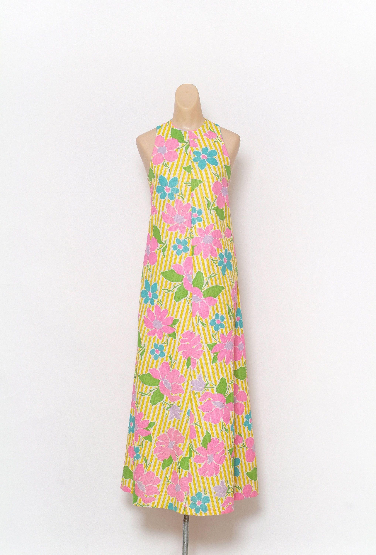 Vintage 60s Dress / maxi dress / Party Dress / Floral / Vintage dress / Tropical dress / 70s dress / day dress / boho floral dress / dress by VintageBoxFashions on Etsy