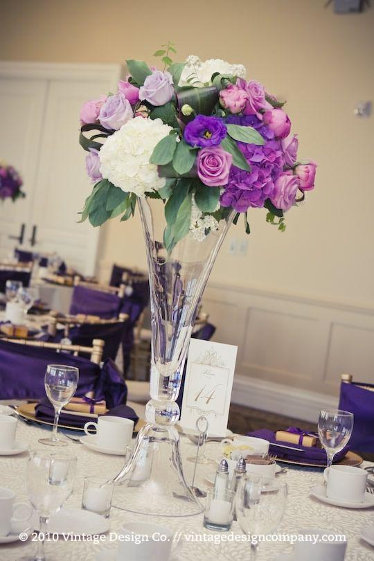 Purple Centerpieces Flower For Wedding Table Decoration