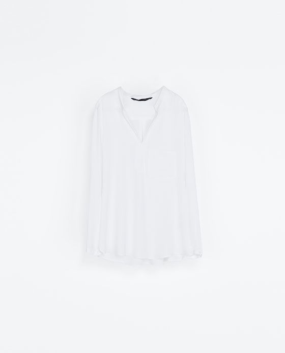ZARA - NEW THIS WEEK - BLOUSE WITH STITCHED NECKLINE