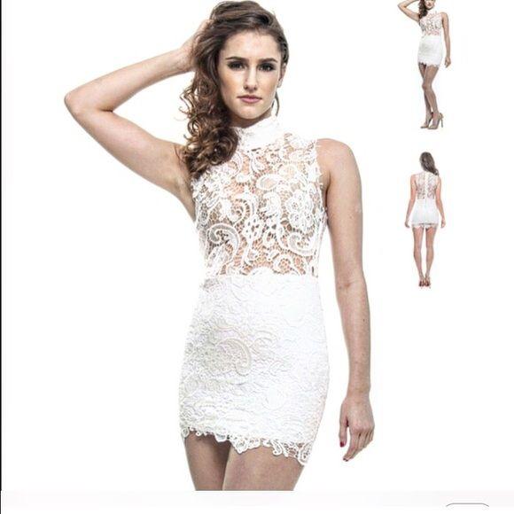 NEW!  Mini lace dress Mock neck white lace dress!  Available in sizes S-L Dresses Mini