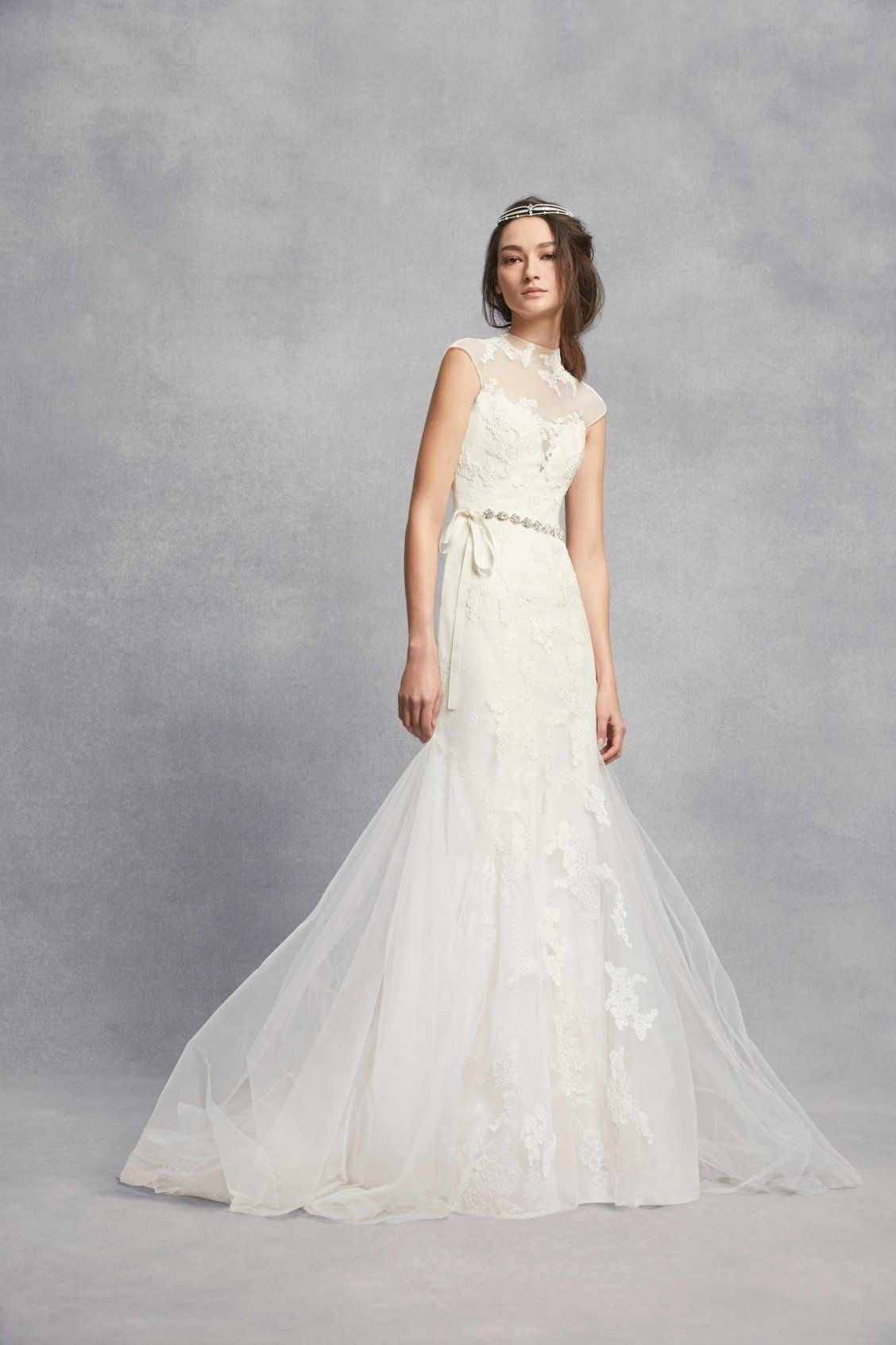 Liqued Chantilly Lace Trumpet Wedding Dress David S Bridal White By Vera