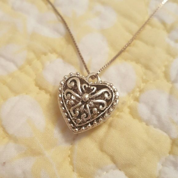 heart necklace silver heart 3d necklace it is hollow on the inside