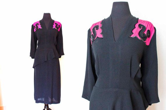 A gorgeous vintage 1940s party dress in a rare plus size!    Jet black rayon crepe wiggle silhouette fit for a film nior starlet. 3/4 length