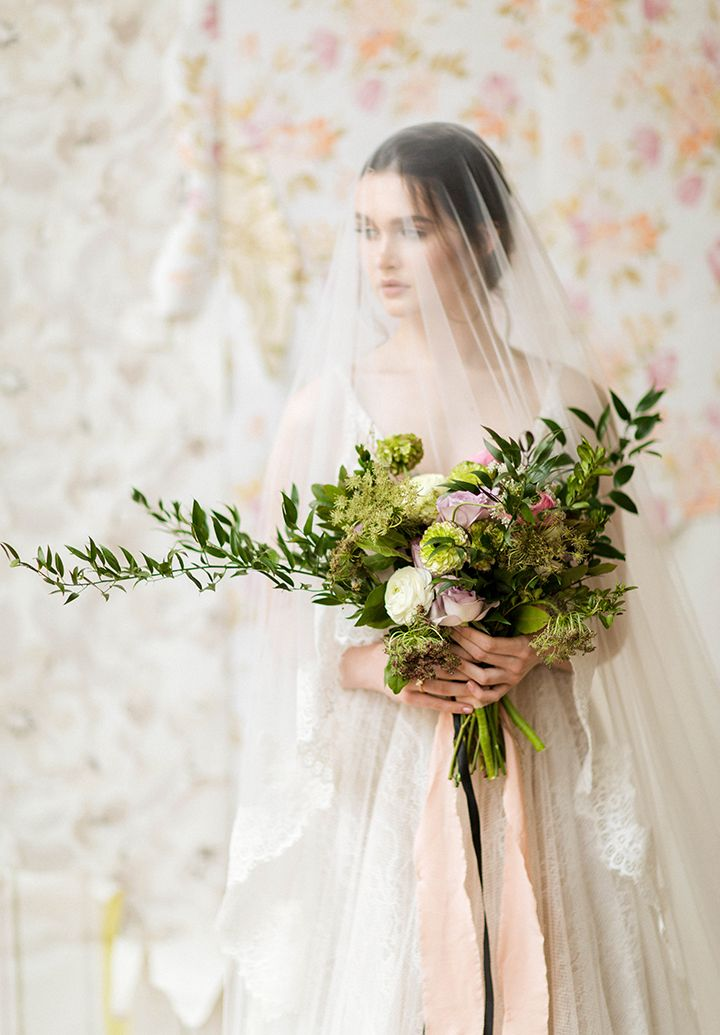 Soft Muted Color Palette For A Morning Bridal Shoot