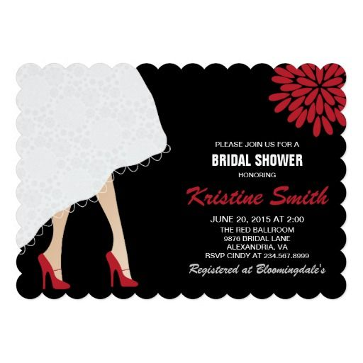 Bridal Shower Invitation w Red High Heel Shoes Zazzle Pinterest