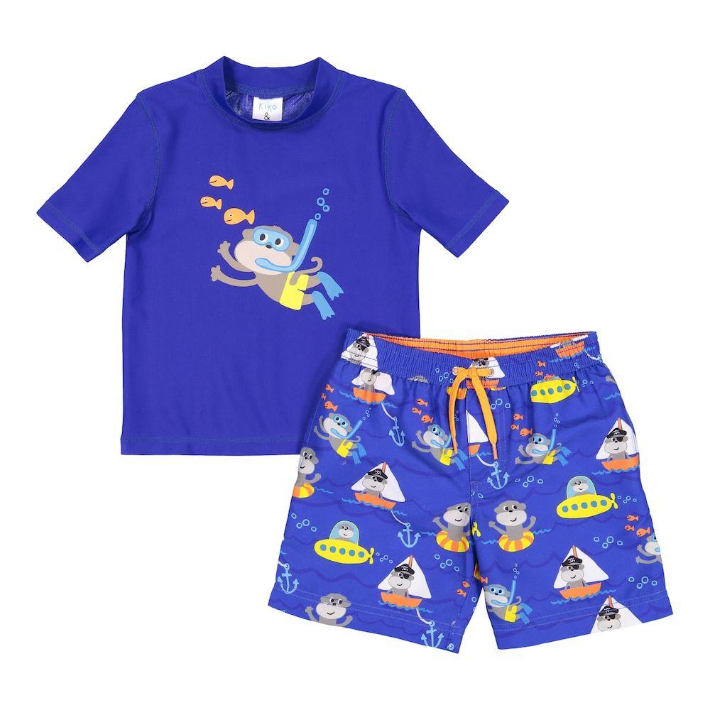 5ac6ed503d Baby Boy Kiko & Max Monkey Snorkeling Rash Guard Top & Swim Trunks Set,  Size: 18 Months, Blue