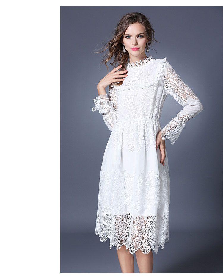 c2e7ff4fc8 Spring Fall Women White Lace Dress Long Sleeve Romantic Lolita Croche  Crochet Turtleneck Dress Elegant Jacquard Party Dress