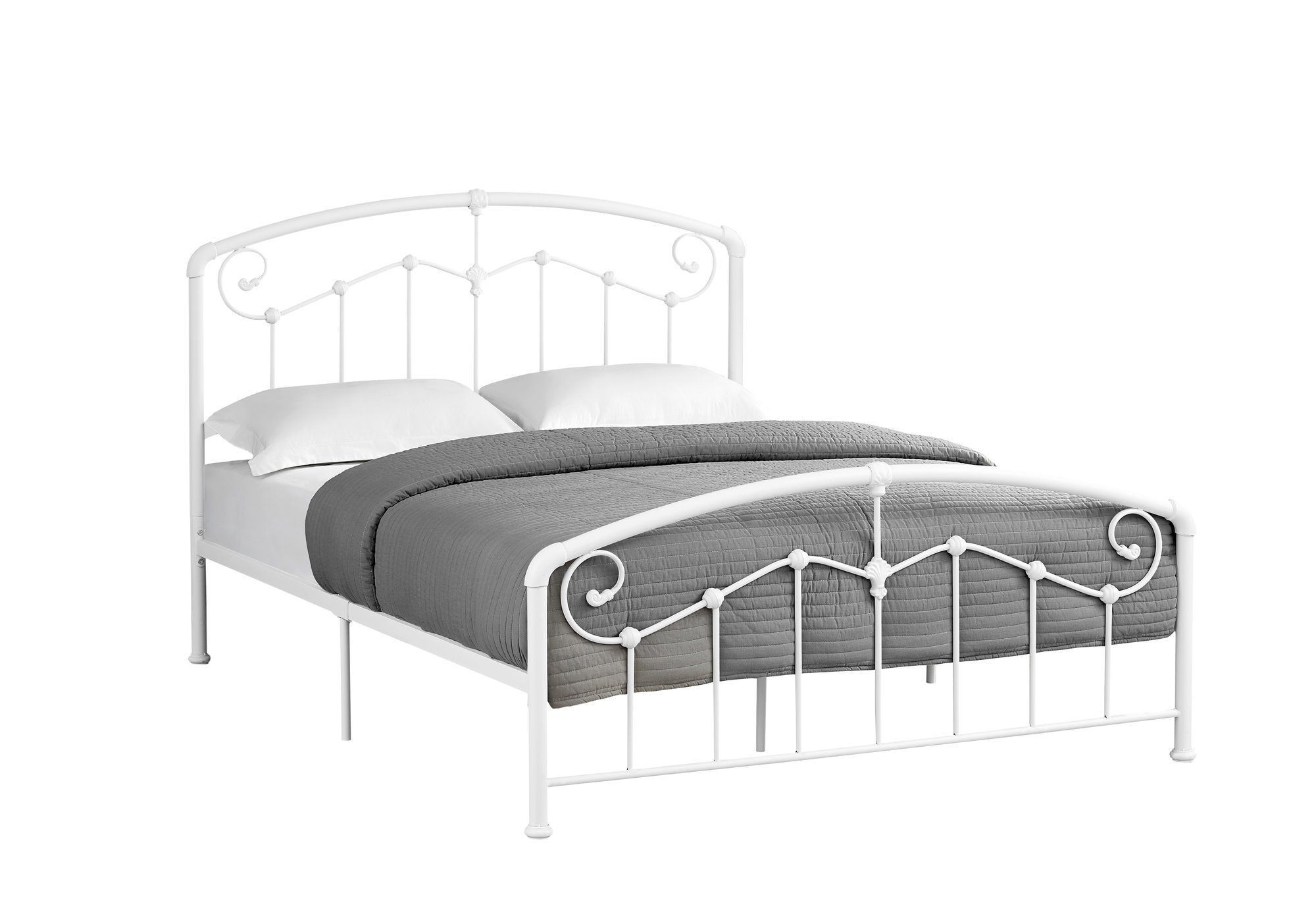Bed Queen Size White Metal Frame Only Bed frame, Bed
