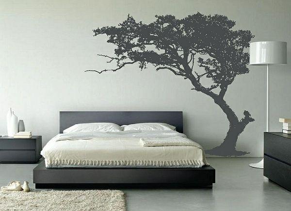 Wandgestaltung Ideen Schlafzimmer Wandtatoos Stehlampe