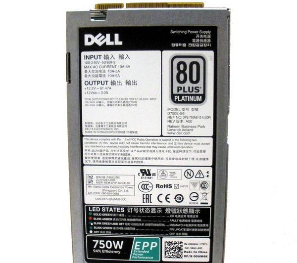 DELL G6W6K Power Supply 750W 80 Plus Platinum | Products