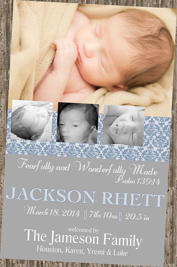 Bible Verse Baby Announcement bluegrey Fearfully wonderfully – Bible Verses for Baby Announcements