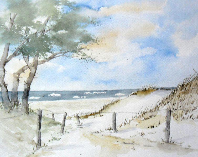 Strandweg Wasserfarben Landschaften Strand Aquarell Und