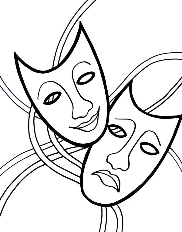 The Comedy Tragedy Mask On Mardi Gras Coloring Page | coloring pages ...