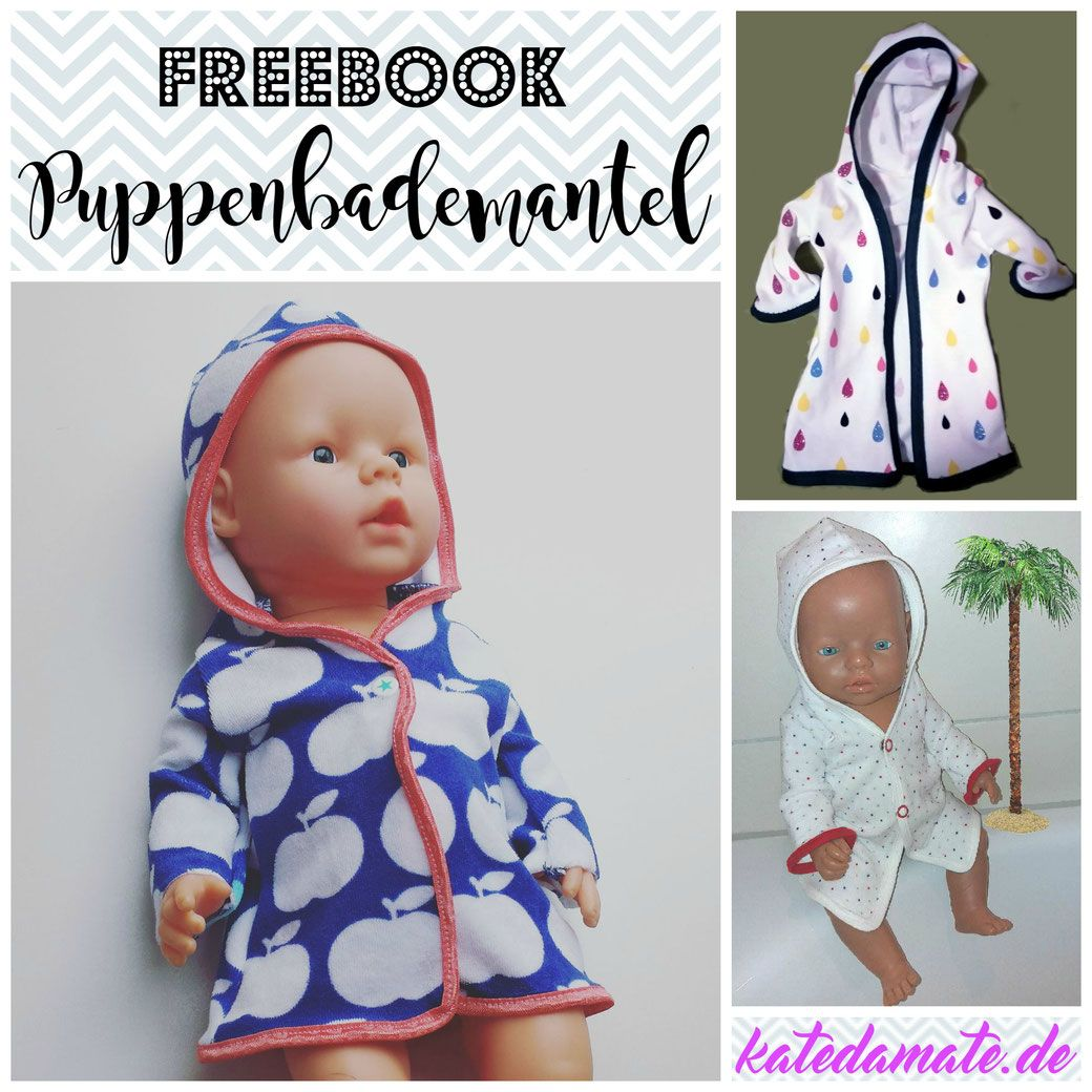 Puppenbademantel - Freebook Schnittmuster und Anleitung   Nähen ...