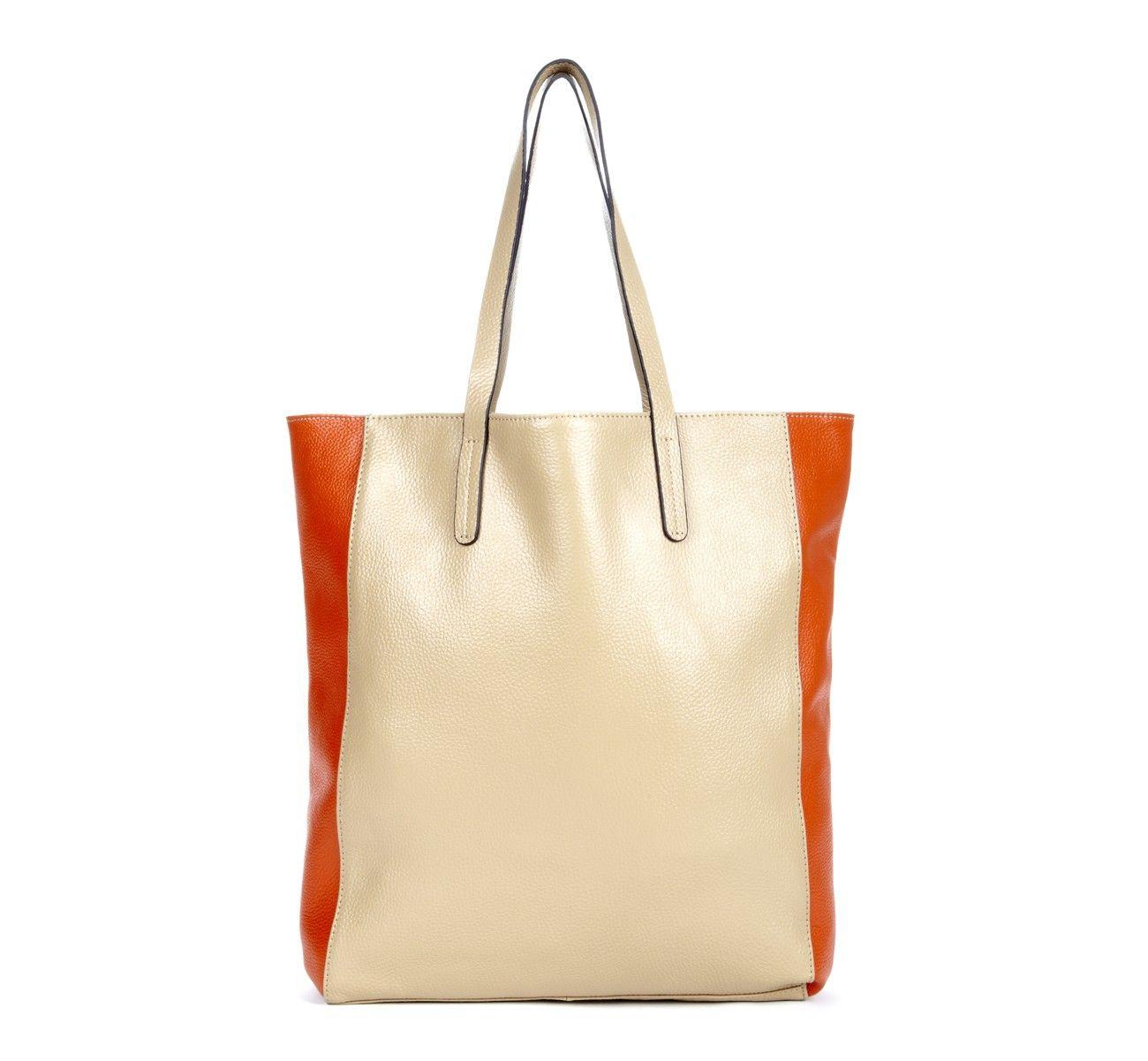 white and orange leather tote or shopper.