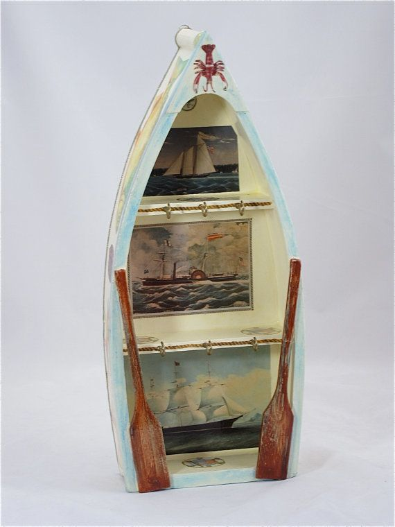 Row Boat Key Holder Wooden Boat Hand Painted Key Holder Decoupaged Key Holder Decorativ Paint Keys Decoupage Box Wooden