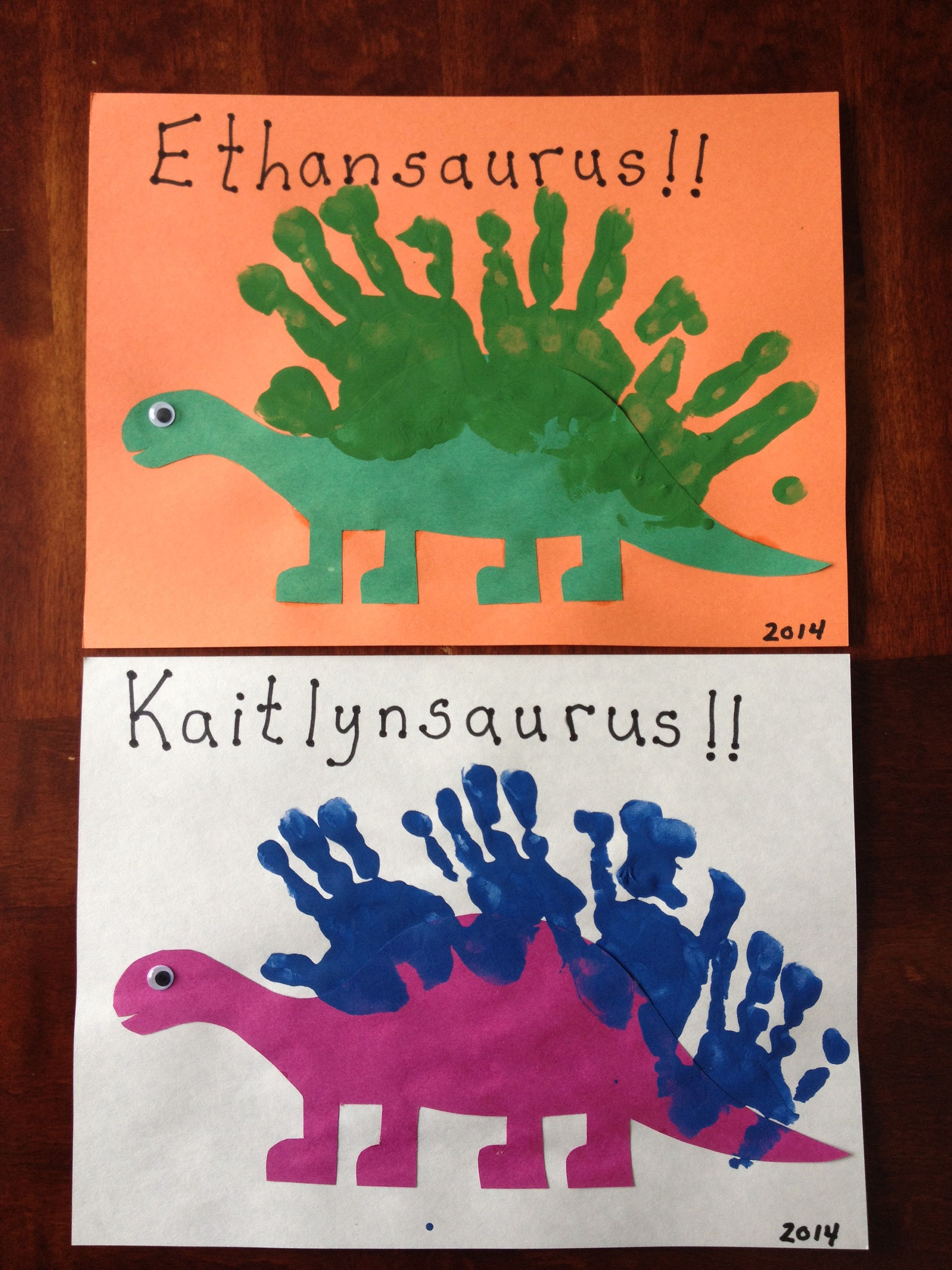 Handprint dinosaurs projects to try pinte for Dinosaur crafts for toddlers