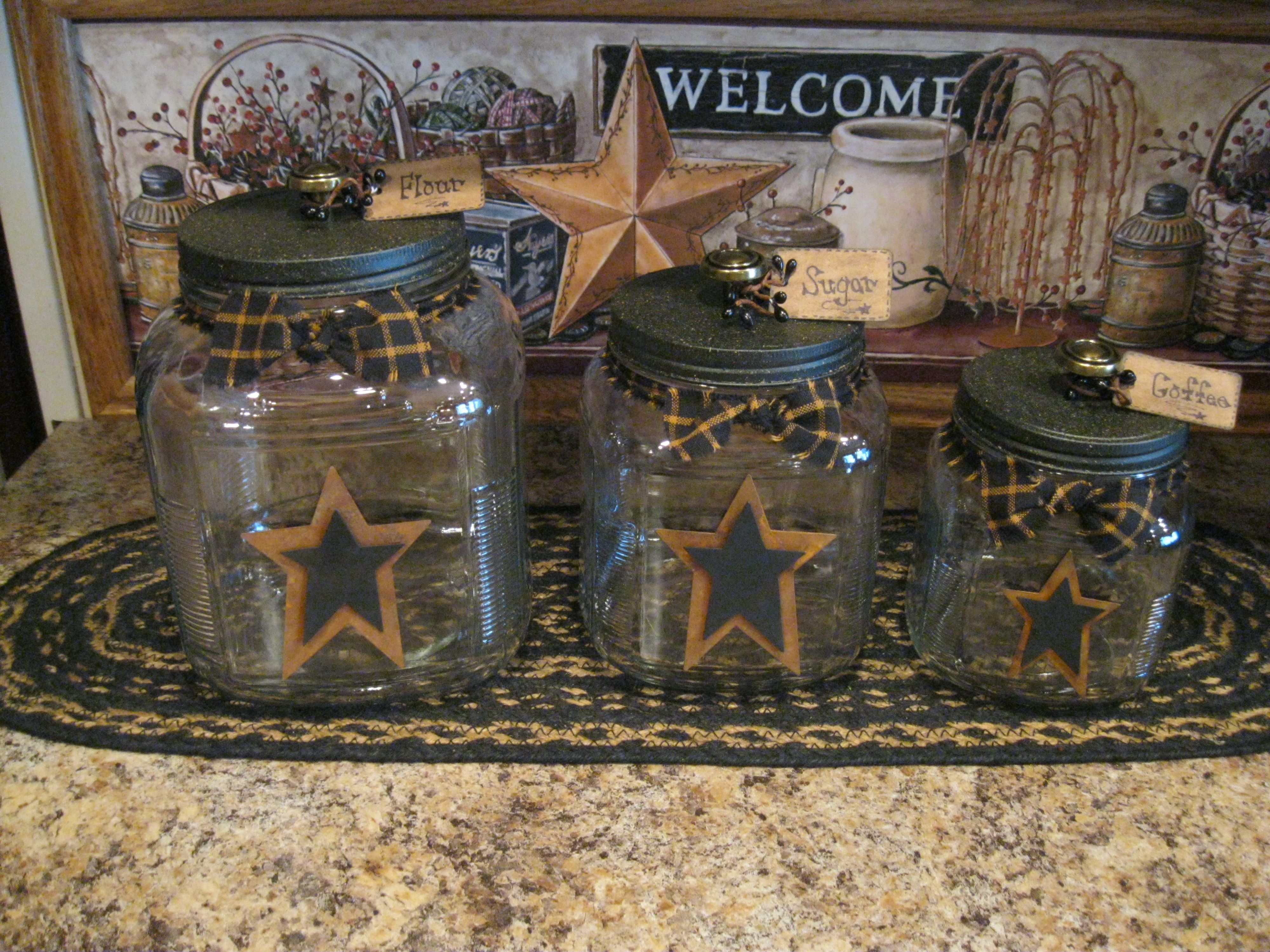 Canister Set. You could make these. Cute for kitchen, bath, display, etc.