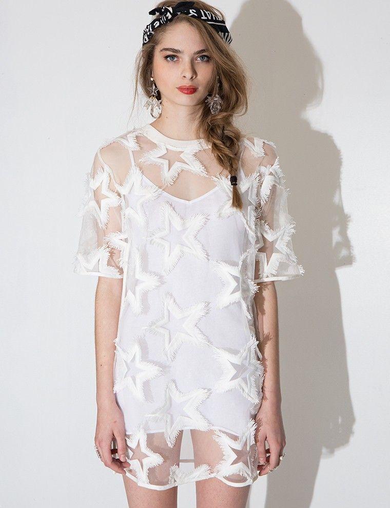 White Fringe Star Dress $62.00