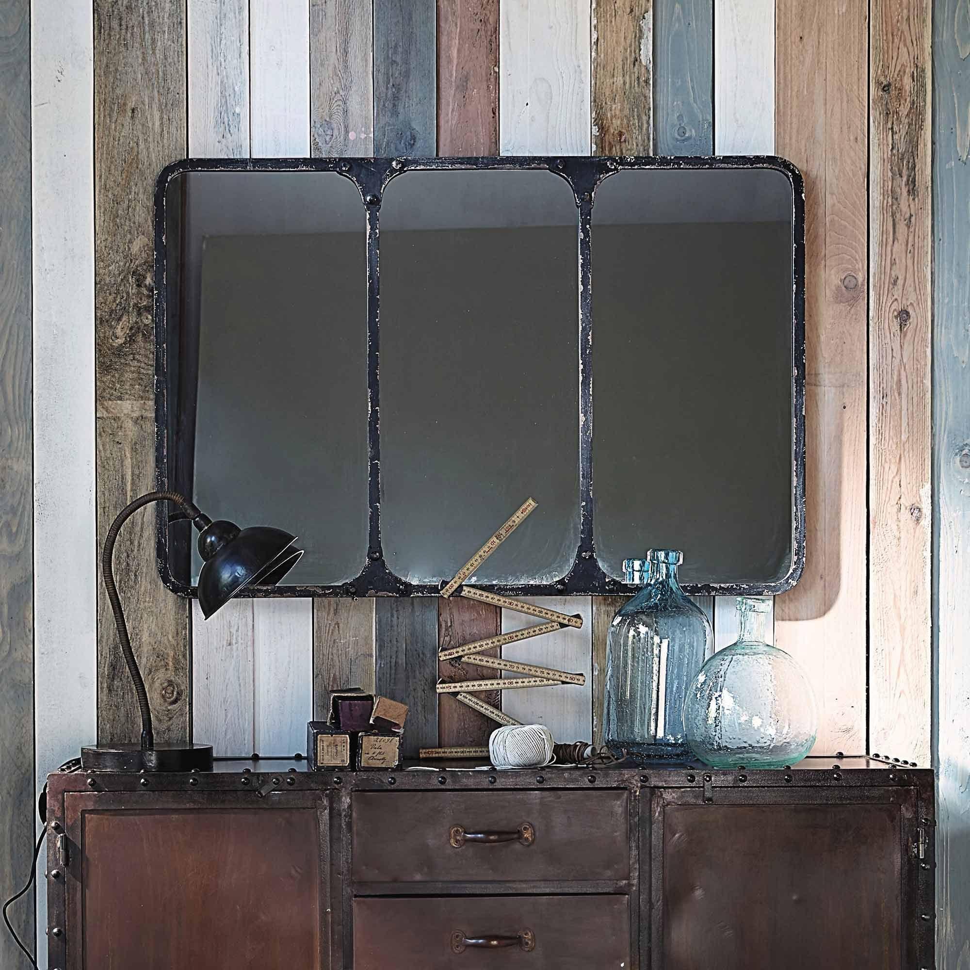Miroir Maison Du Monde Industriel miroir indus en métal noir 106x72 | miroir industriel