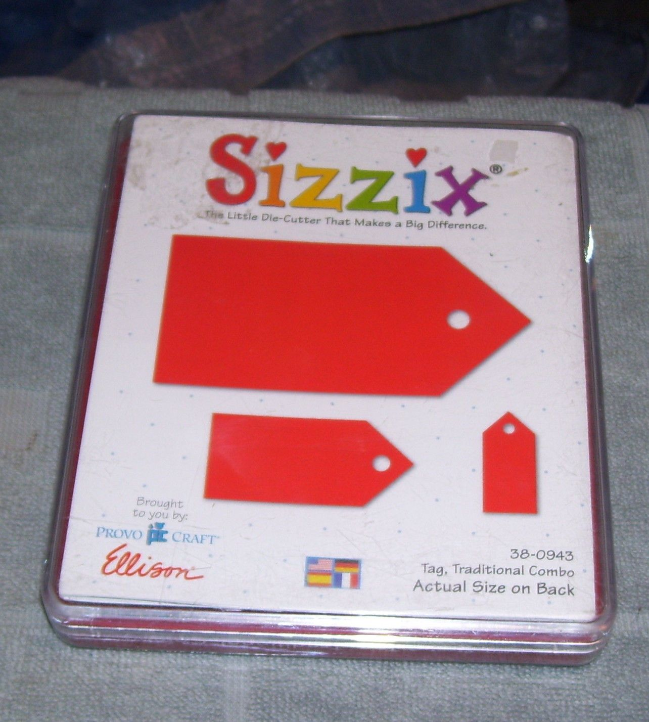 Retired Sizzix Originals Large Red Die Tag Traditional Combo