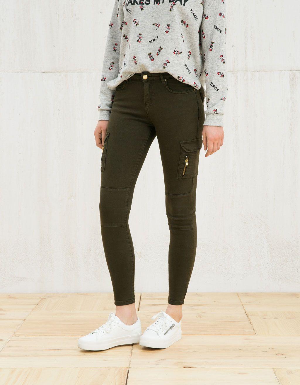 BSK elastic cargo trousers - Trousers - Bershka Serbia  bd720edae60