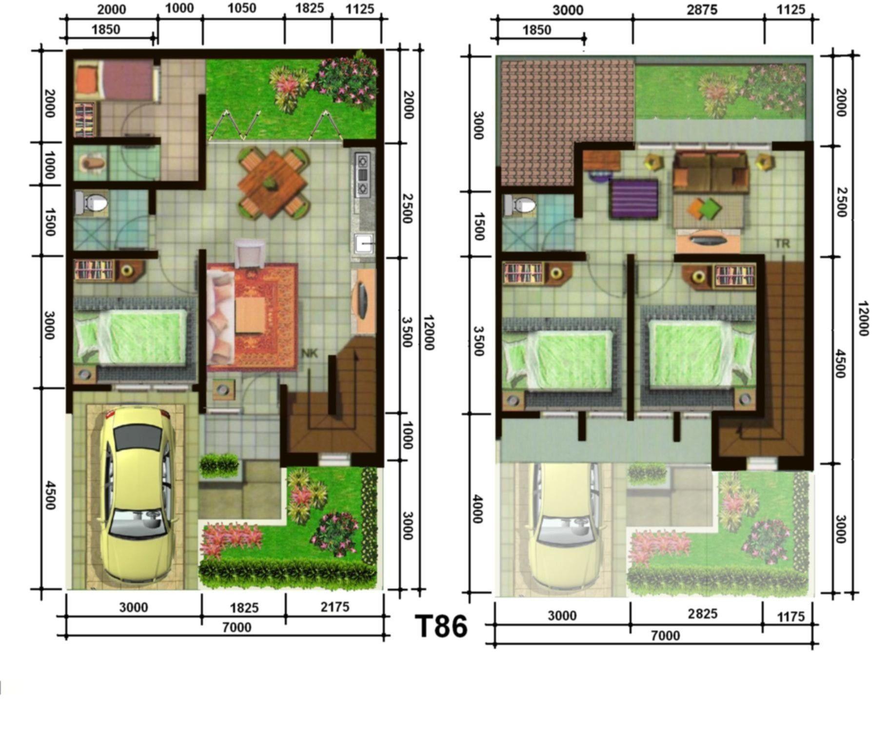 Gambar Denah Rumah Minimalis 1 Lantai Type 45 Pinterest