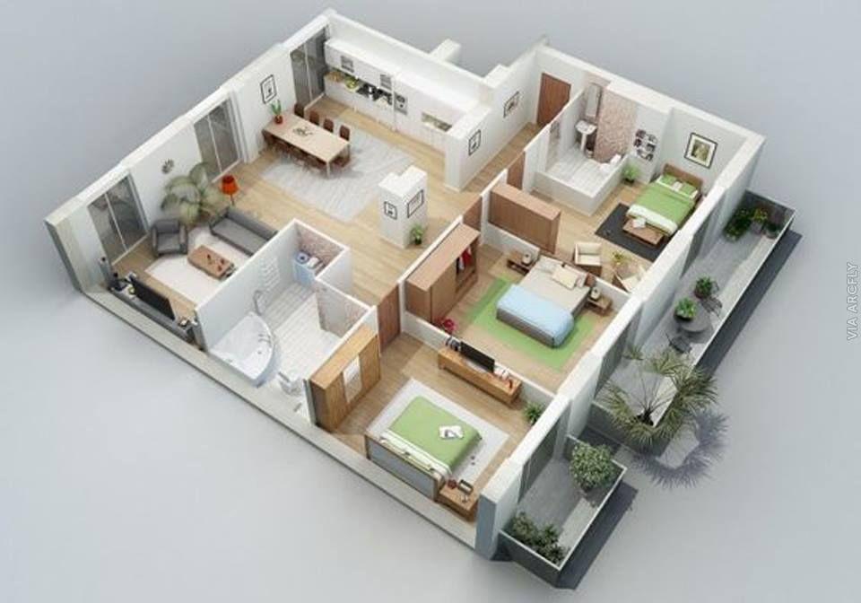 Dekorasi Rumah Minimalist 50 Denah Rumah Minimalis 3d 3 Kamar Tidur 2 Lantai Dan 2 Kamar Tidur Denah Rumah Desain Rumah Rumah