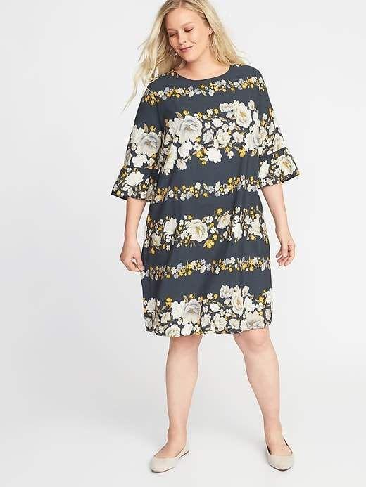 7fa110007c6baf Old Navy Women s Floral-Print 3 4-Sleeve Plus-Size Shift Dress Black ...