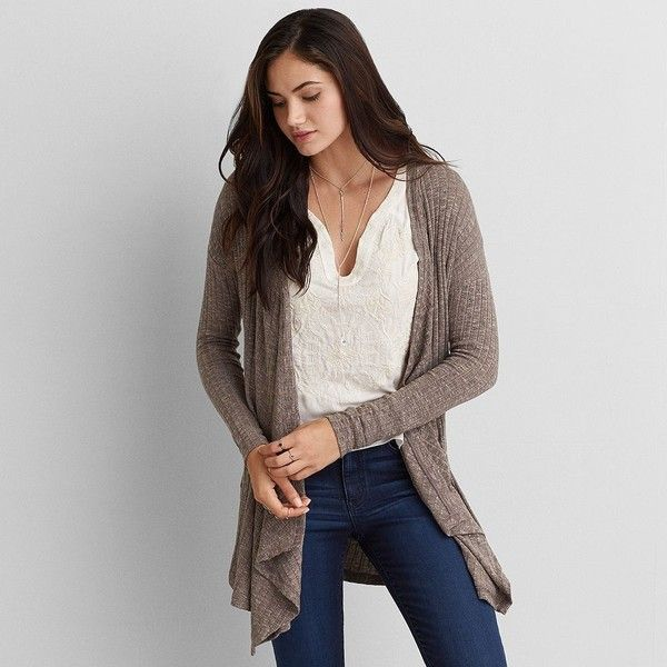AEO Feather Light Waterfall Cardigan ($40) ❤ liked on Polyvore ...