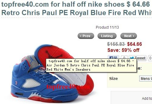 324452fa61a3 Air Jordan 5 Retro Chris Paul PE Royal Blue Fire Red White Men s Sneakers