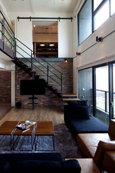 Modern loft with brick