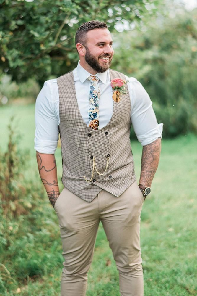 27 Rustic Groom Attire For Country Weddings rustic groom attire western vest with boutonnieres…