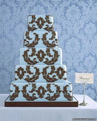 blue & brown damask cake, Martha Stewart Weddings