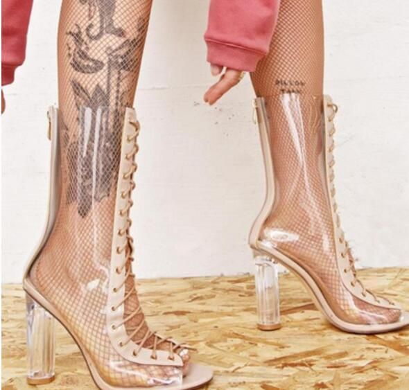 2c7896a8d76 Womens Lace Up Transparency Chunky Peep Toe Mid Calf Boots High Heel Shoes