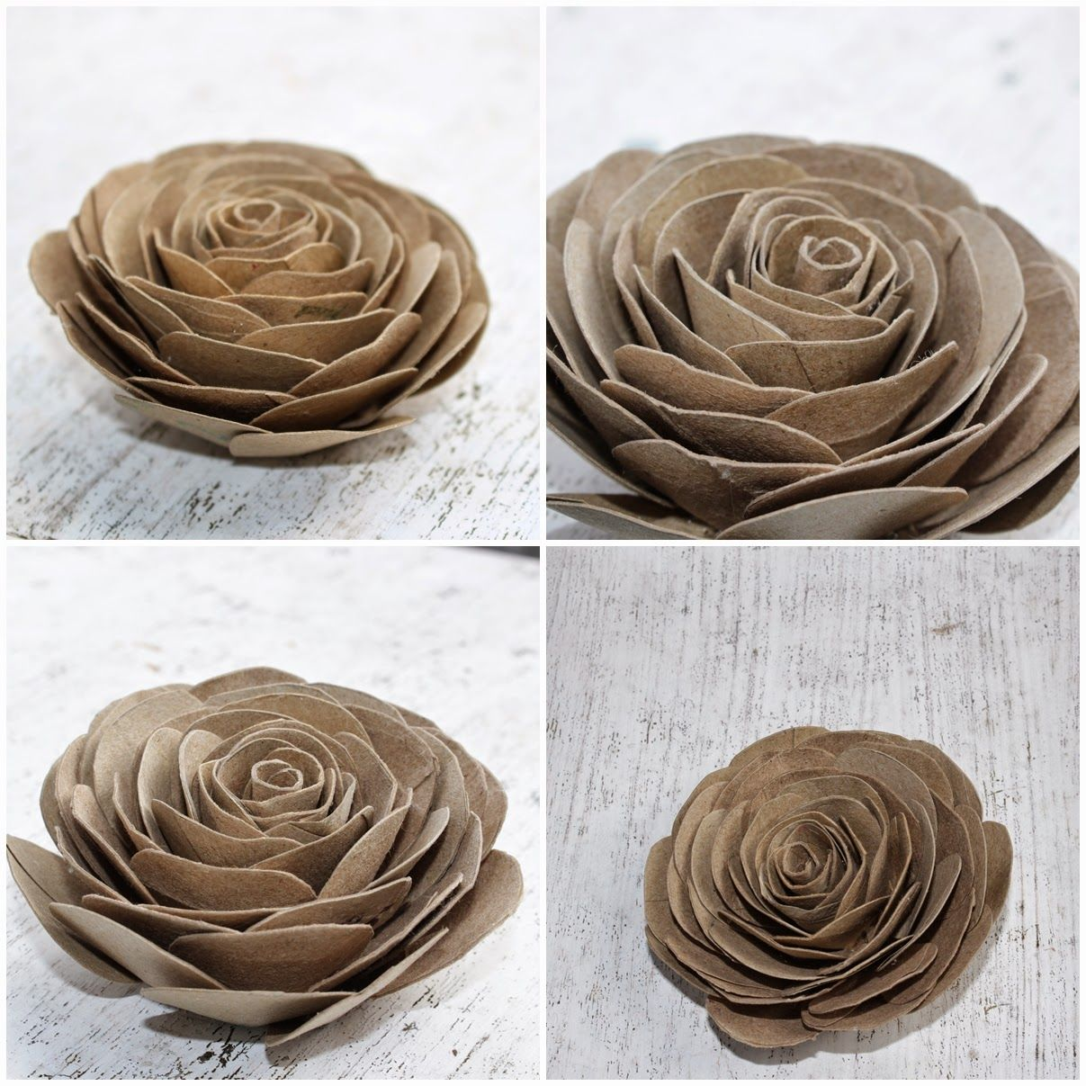Diy how to make cabbage roses using empty toilet tissue for Flowers made out of toilet paper rolls