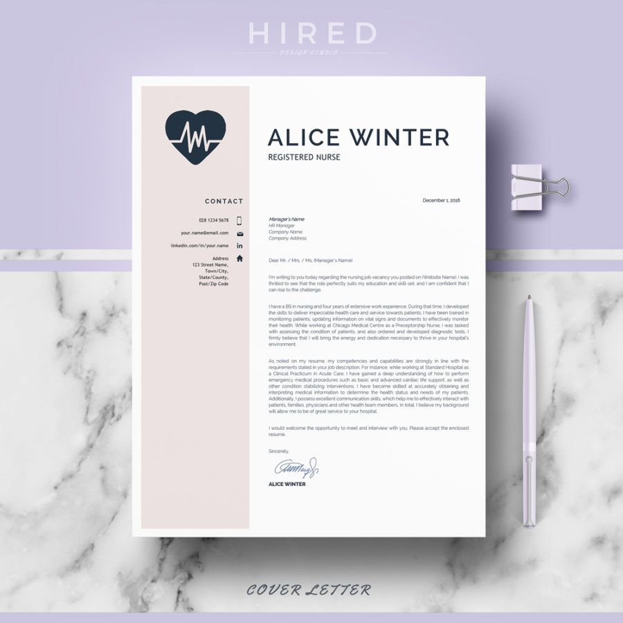 "Resume Templates Word Nurse Resume Template For Ms Word ""Alice""  Nurse Resume"
