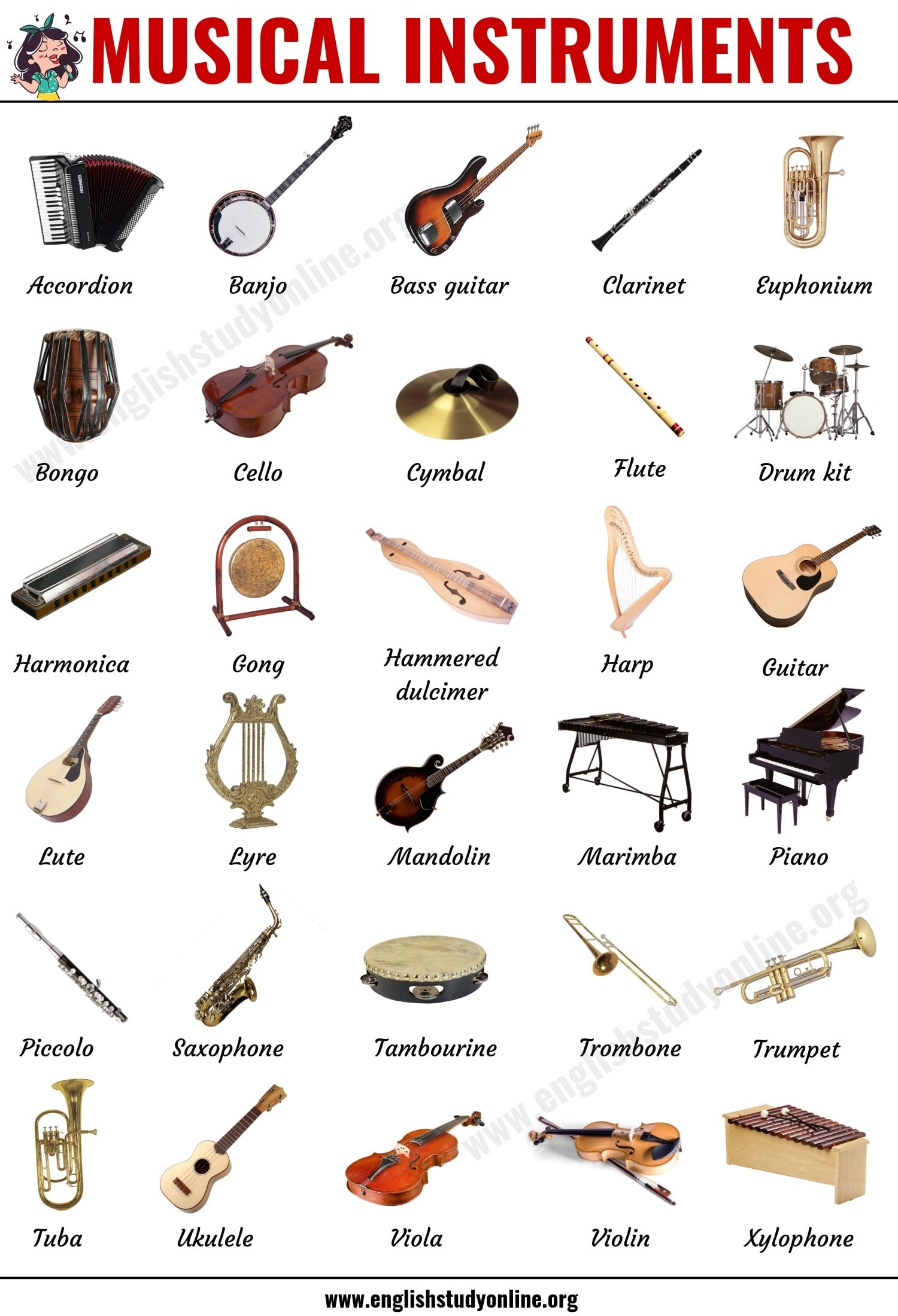 Musical Instruments List of 20 Popular Types of Instruments in ...
