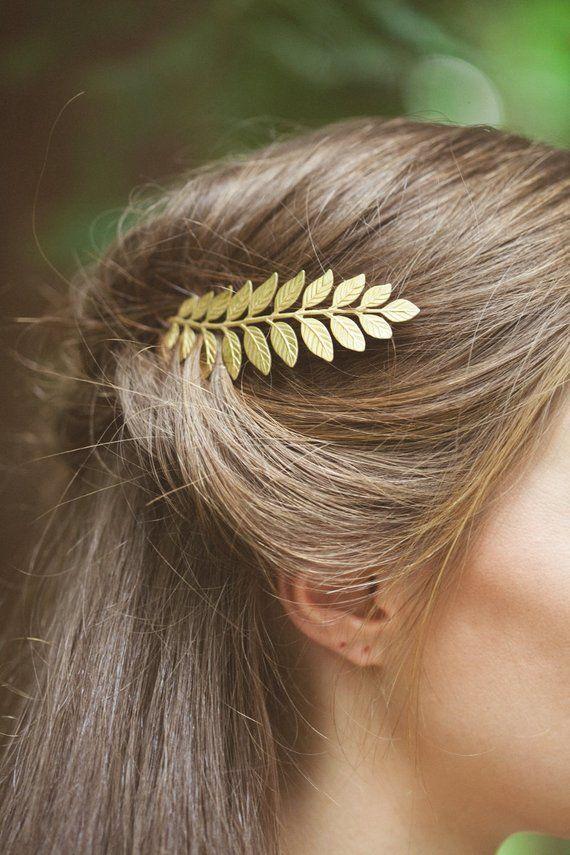 Laurel Leaf Bobby Pin Gold Grecian Hair Clip