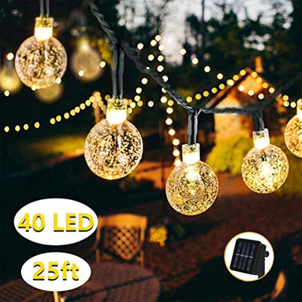 Partys Au/ßerlichterkette Deko f/ür Garten B/äume Weihnachten Hochzeiten Terrasse LED Solar Lichterkette 30 Warmwei/ß Kristall Kugel 6,5 Meter Lichterkette Au/ßen Innen