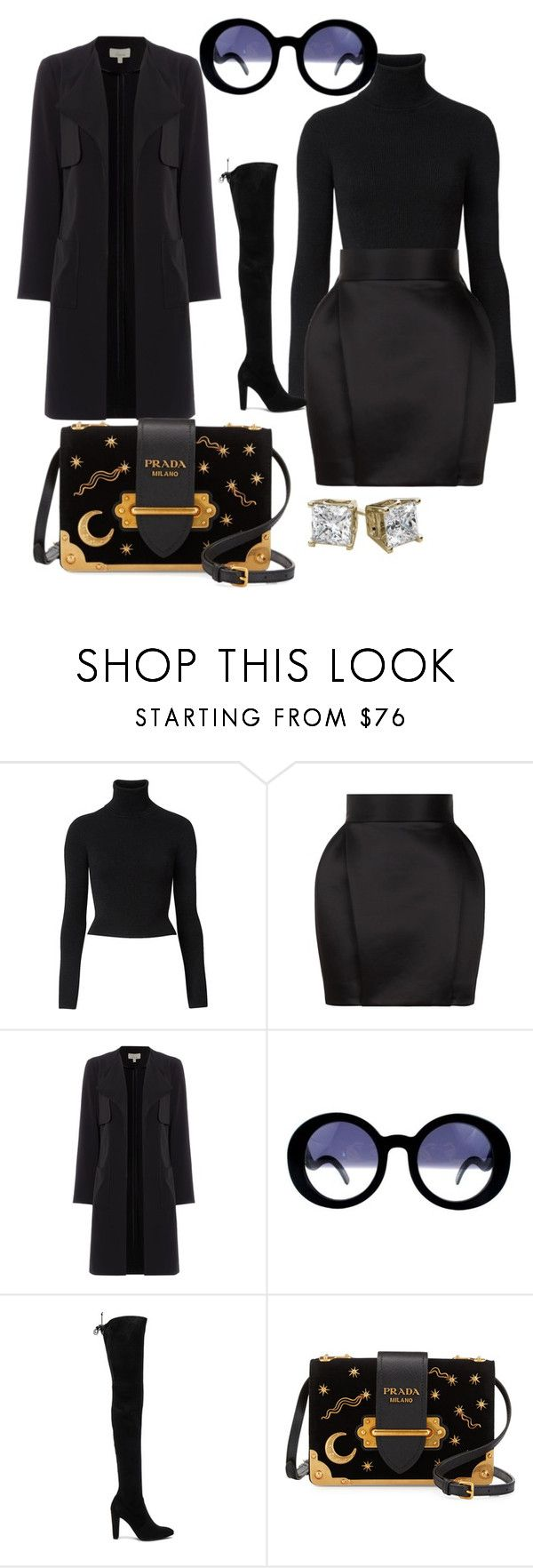 """""""Dressed in all Black like an Omen"""" by styledbytammy ❤ liked on Polyvore featuring Witchery, Balmain, Chanel, Stuart Weitzman and Prada"""