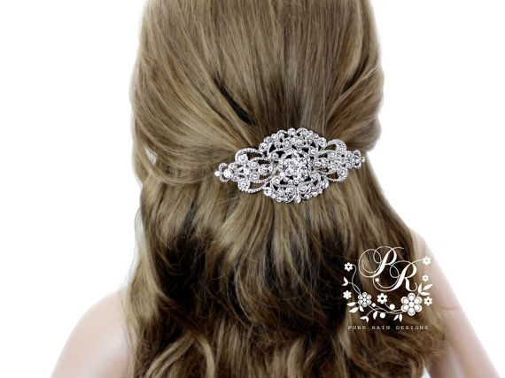 Wedding Barrette Rhinestone Hair Clip Bridal by PureRainDesigns ...