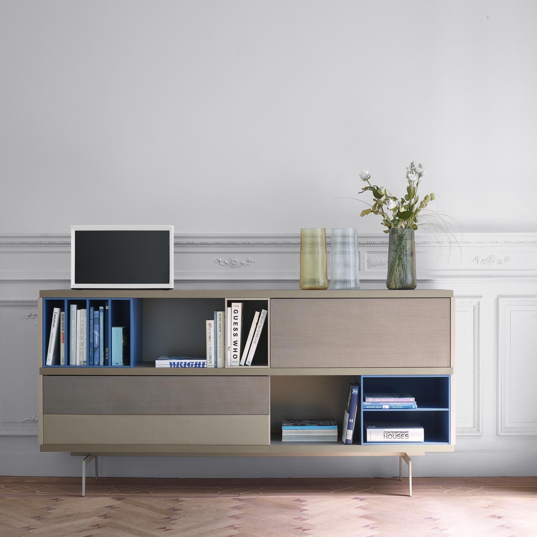 Mixte Living Room Media Storage Designer Mauro Lipparini Ligne