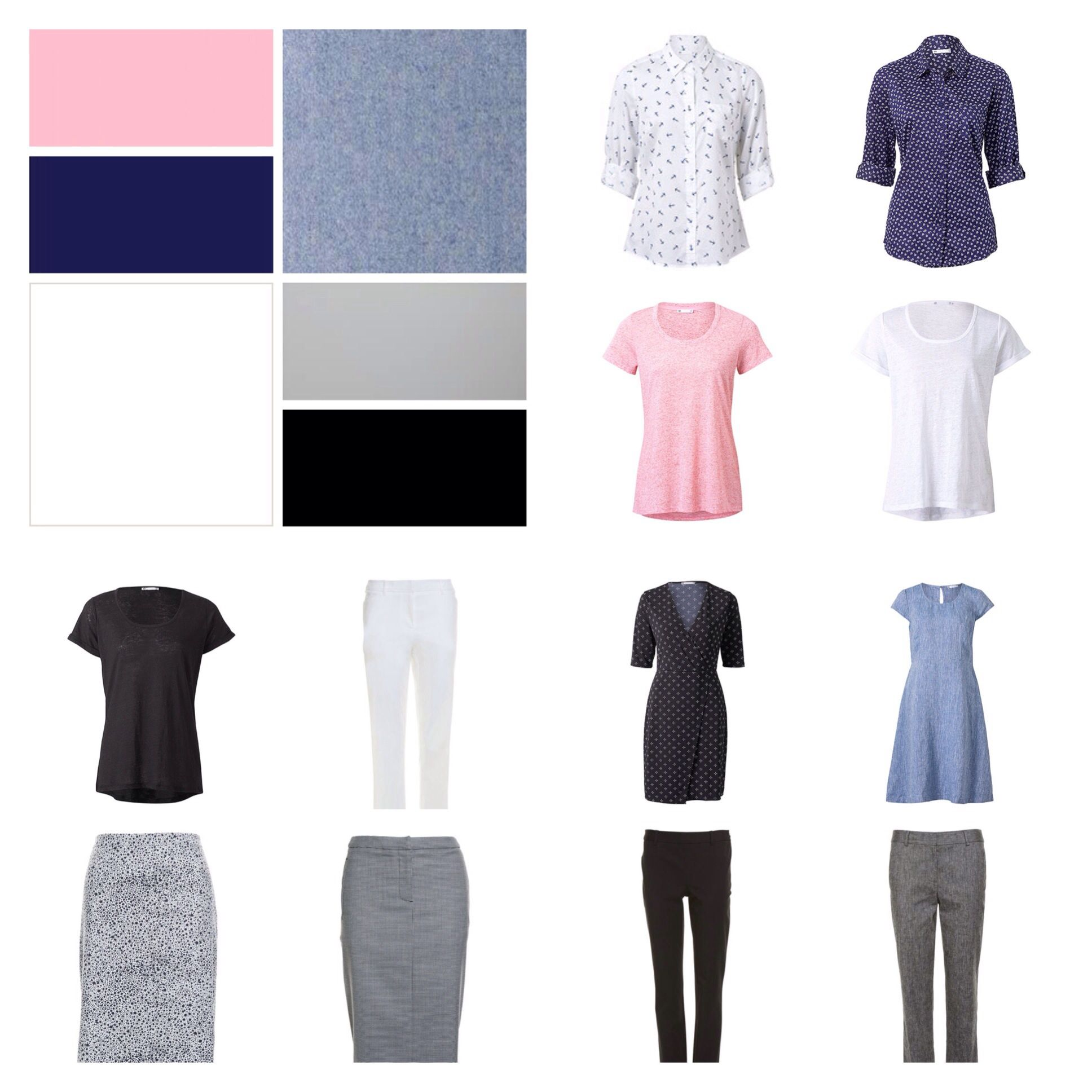 Spring Work Capsule, 5 tops, 5 bottoms, 2 dresses, from Sportscraft and Target Australia.
