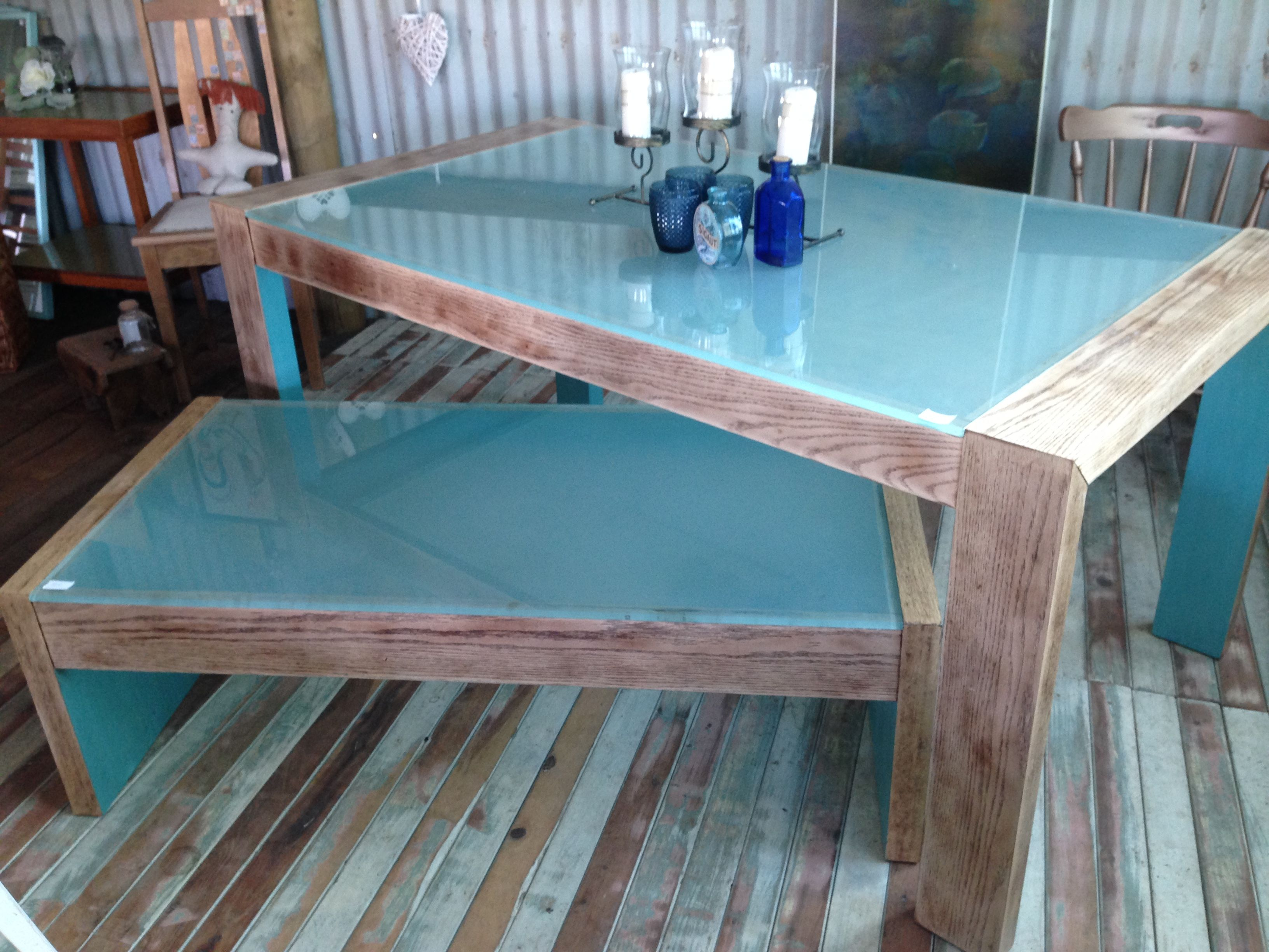 Modern refurbished dining table and matching coffee table $300