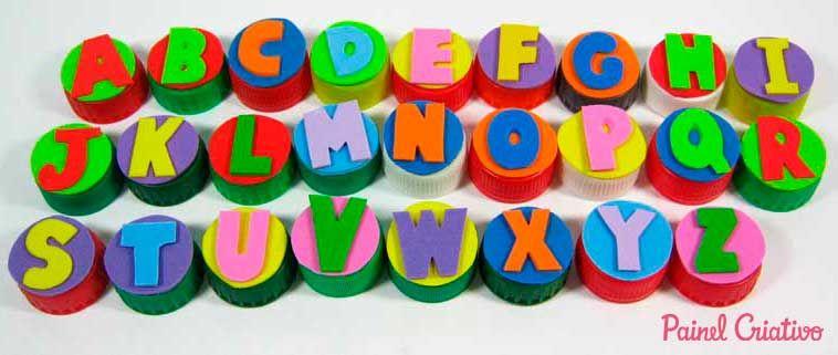Alfabeto Movel Tampinha Garrafa Pet Sala De Aula Escola