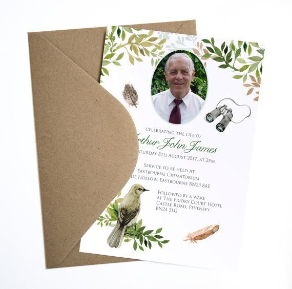 Funeral Memorial Announcement or Invitation - Bird Watching - funeral invitation cards