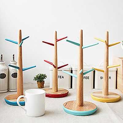 Mug Tree Stand Wood Cup Rack Saucer Coffee Tea