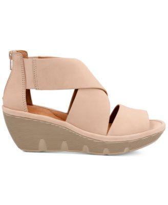 3eb67855ff Clarks Artisan Women's Clarene Glamour Wedge Sandals - Tan/Beige 6M ...