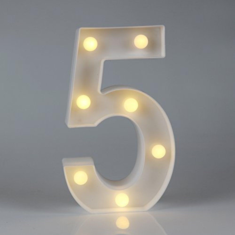 Decorative Led Light Up Number Letters, White Plastic